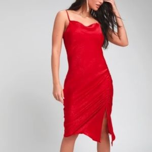 NWT Lulu's Lovely Red Satin Dress Size M